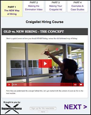 Craigslist hiring course screenshot