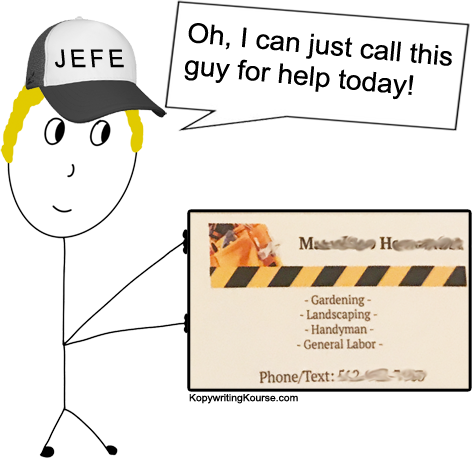 Day laborer business cards jefe