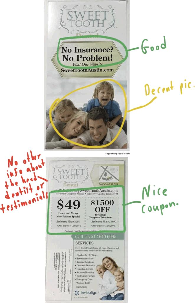 Dental direct mail markup