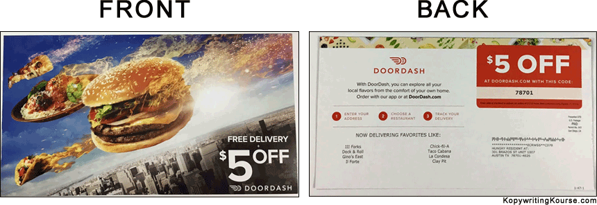 food delivery mail flyers