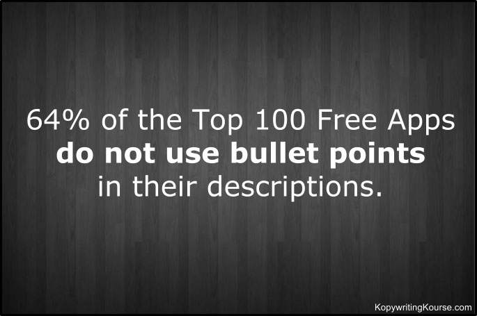 Free apps not using bullet points