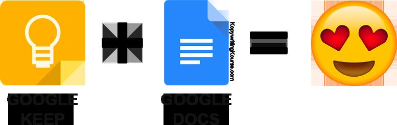 Google Keep and Google Docs together