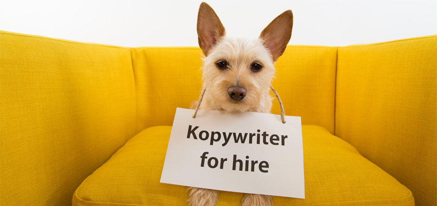 Copywriter for hire dog sign