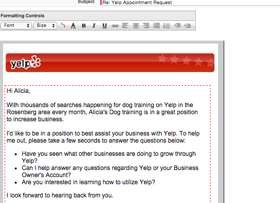 B2B Yelp Email Template