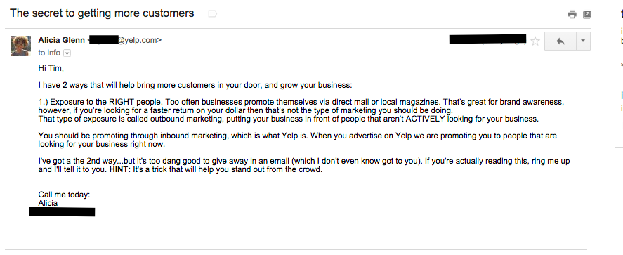 B2B email example