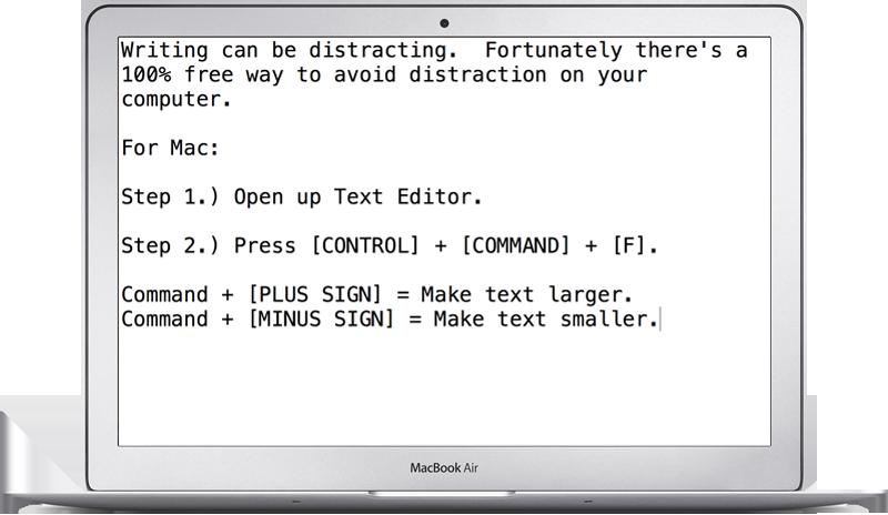 Mac Distraction Free Writing Trick