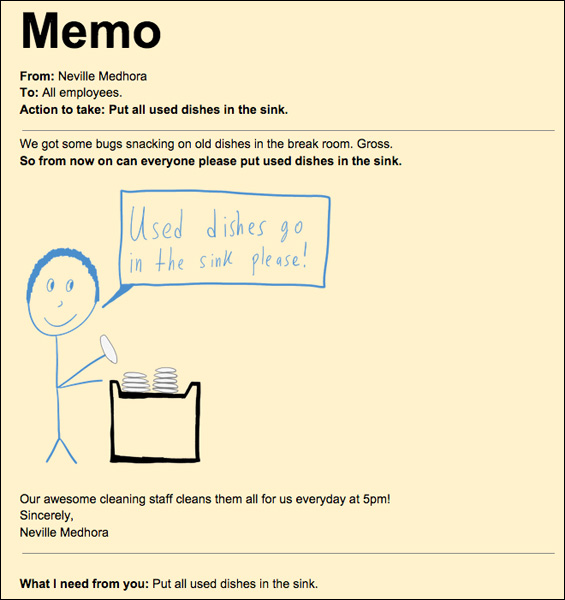 Memo example dishes in the sink