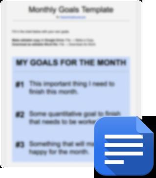 monthly goals template planner download