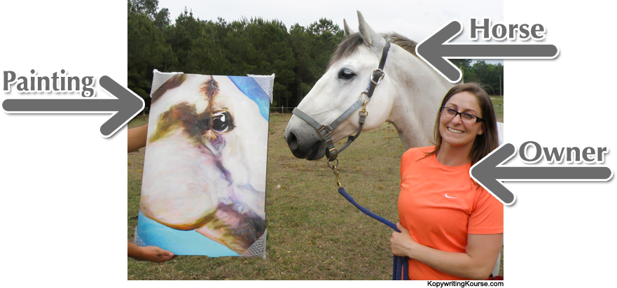 owner and horse painting