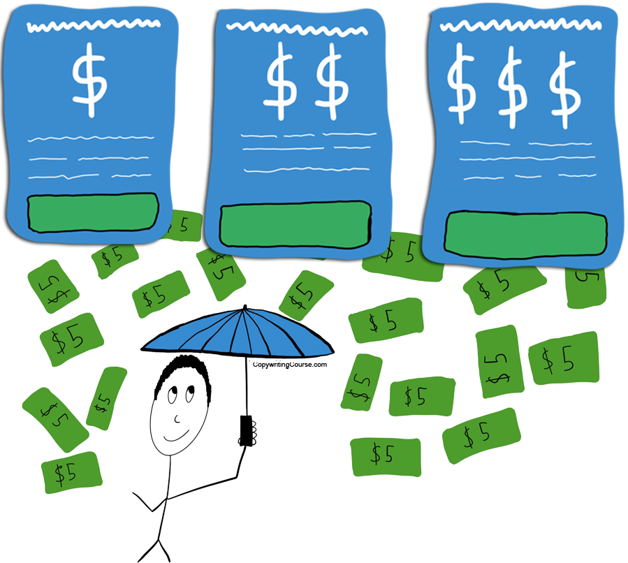 Pricing examples for sales pages raining money