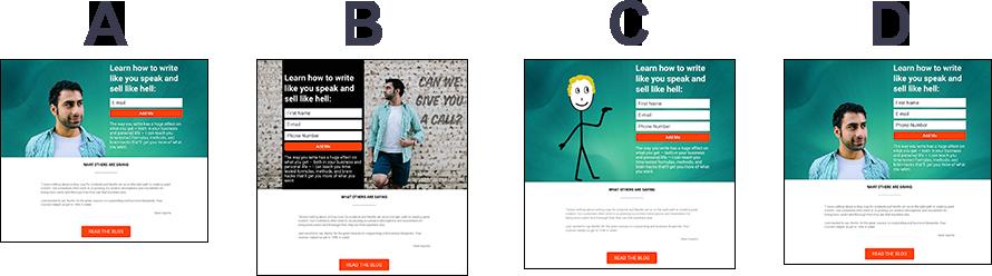 Split Test Variants A B C D Homepage