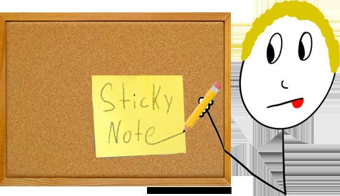 Sticky notes writing