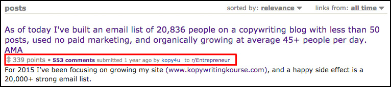 Subreddit Entrepreneur Copywriting