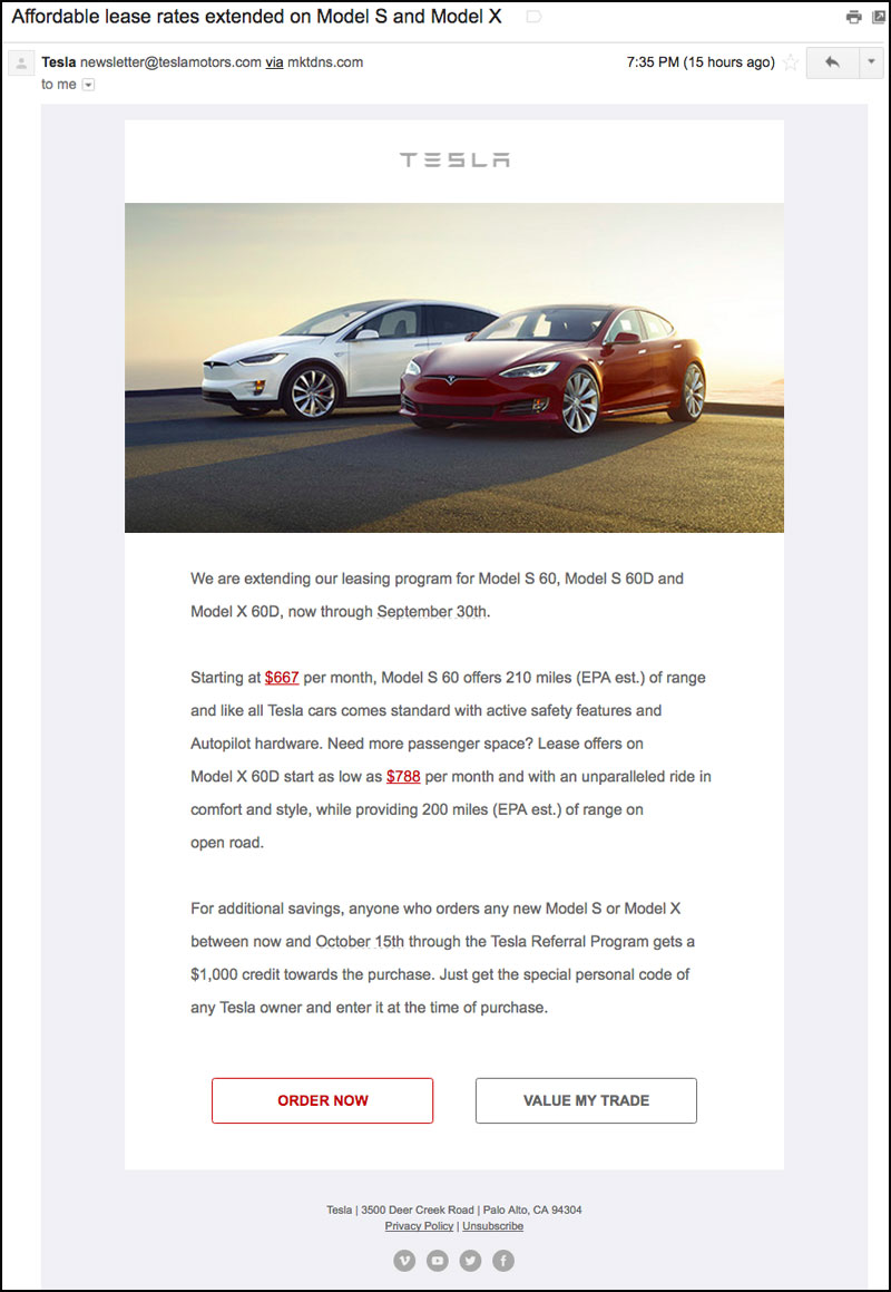 Tesla email newsletter lease