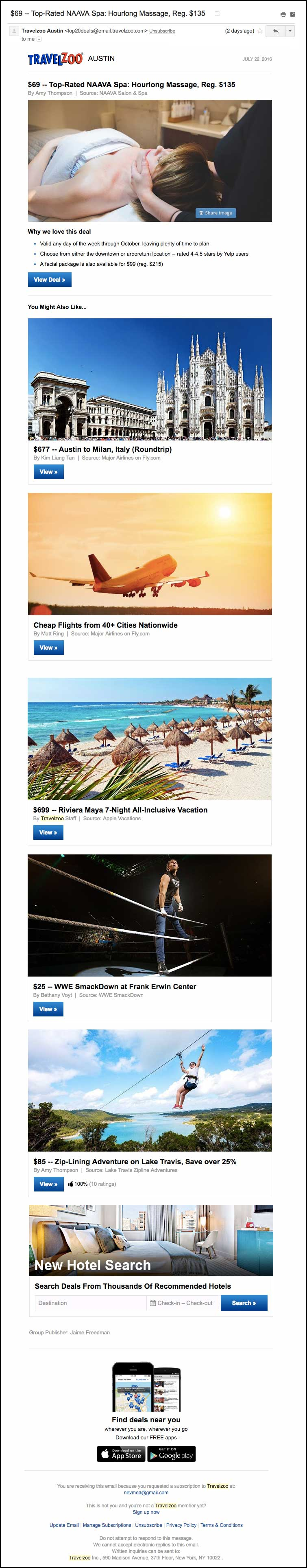 TravelZoo newsletter example