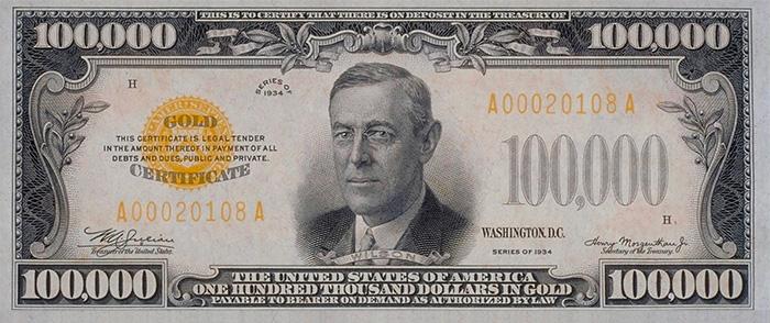 100000 dollar bill hundred thousand