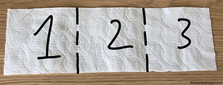 3 squares toilet paper