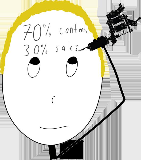 70 percent content 30 sales tattoo on head