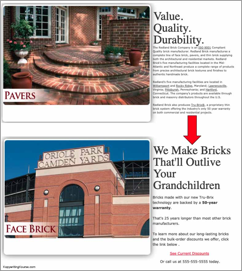brick homepage before and after