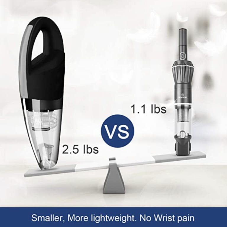 Dustbuster image showing weight difference