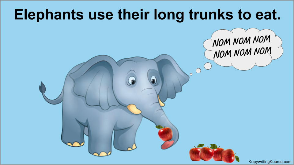 Elephants use their long trunks to eat.