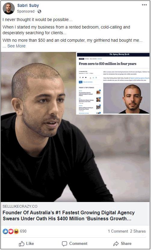 Facebook hook example sabri suby