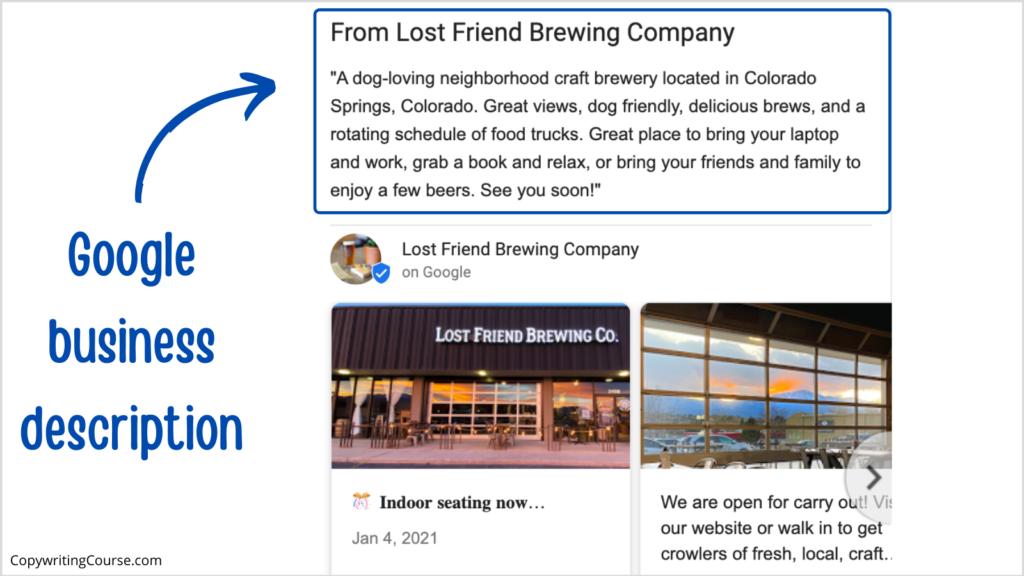 google business description