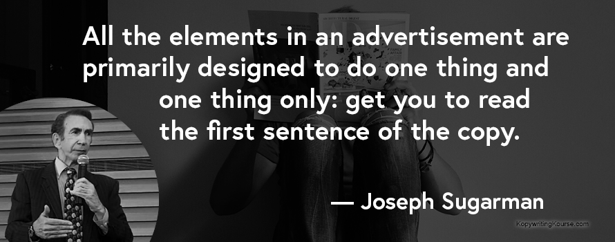 Joseph Sugarman quote about headlines