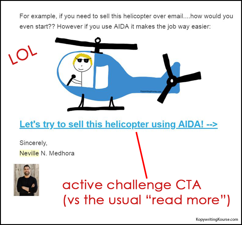 Kopywriting Kourse sells a helicopter email
