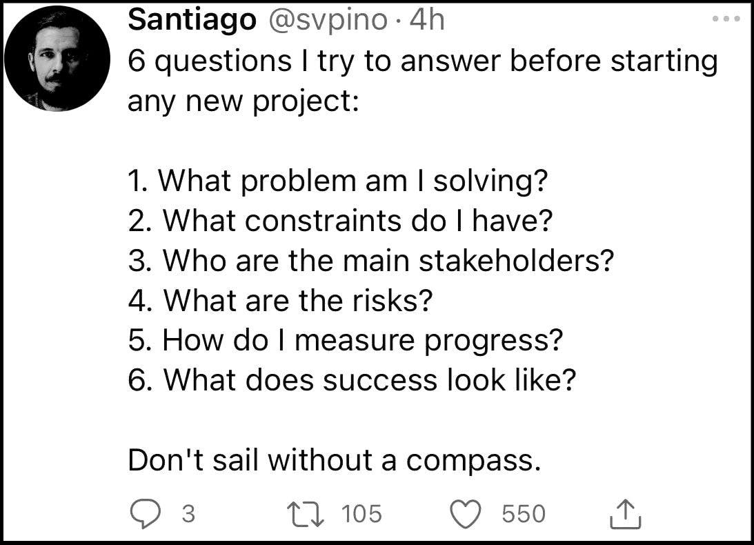 Santiago tweet 6 questions