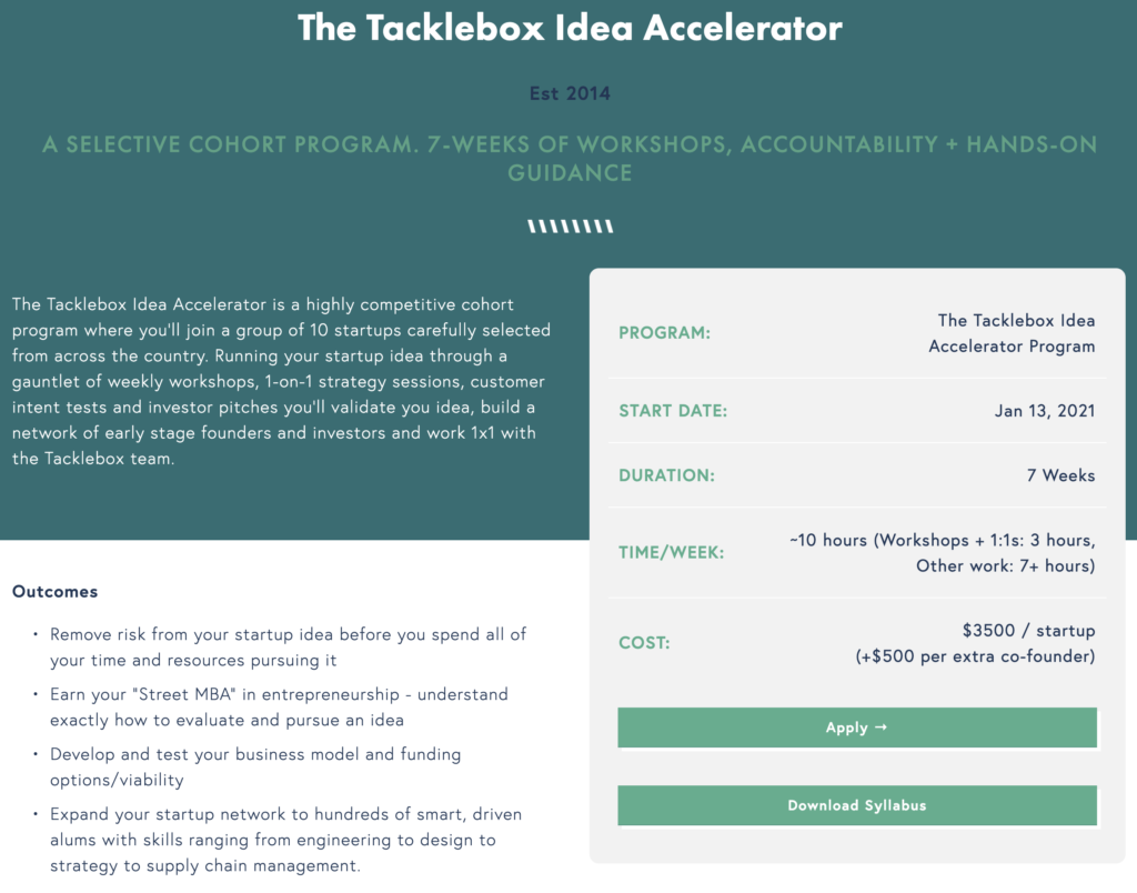 Tacklebox idea accelerator