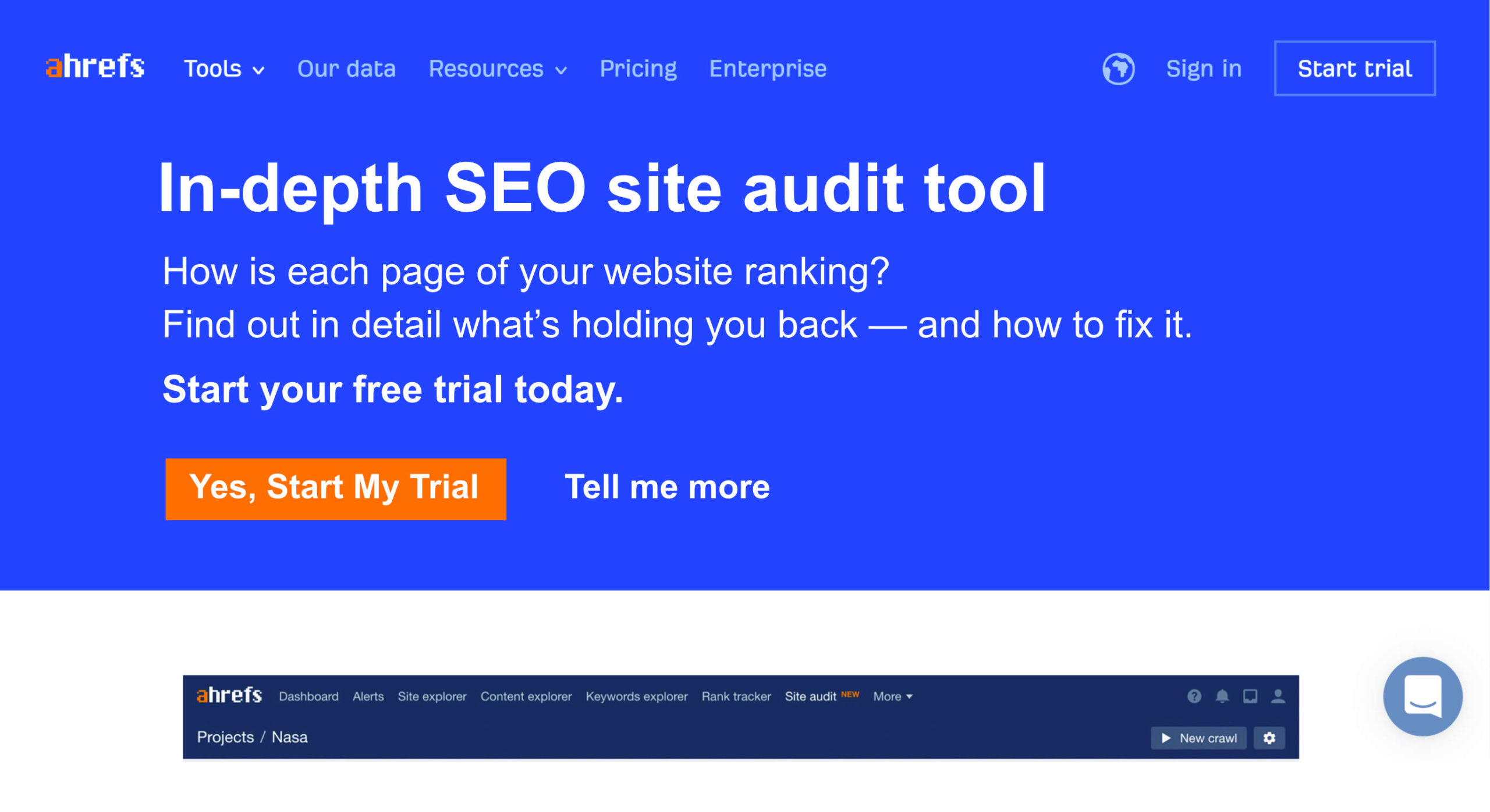 Ahrefs indept section