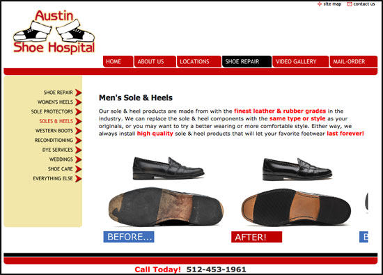 Austin shoe hospital website