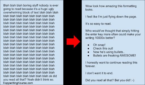 break up walls of text