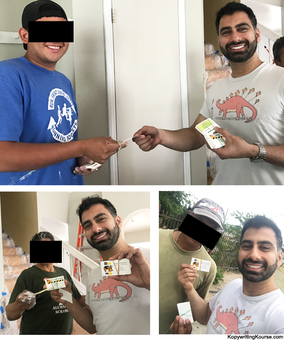 Giving business cards to day laborers