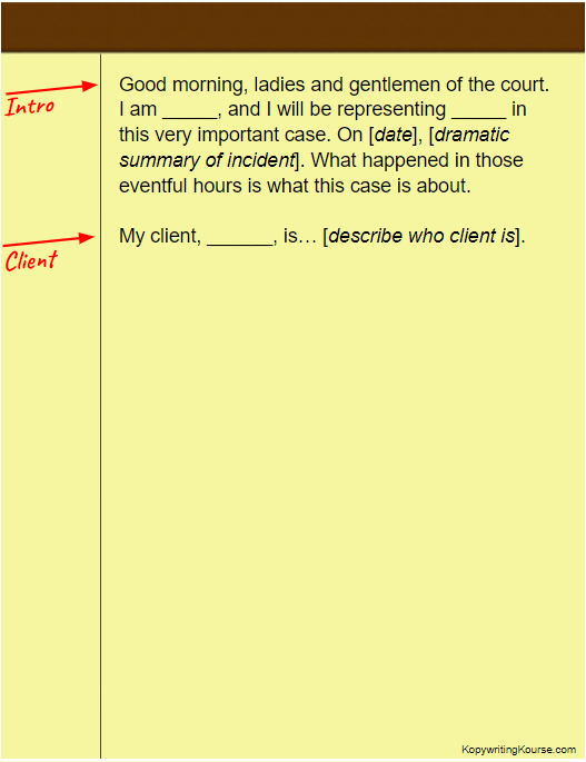 client opening statements