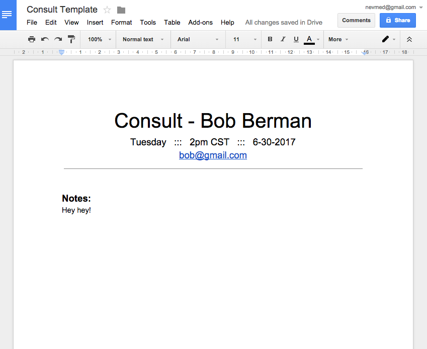 Consults Google Docs Template