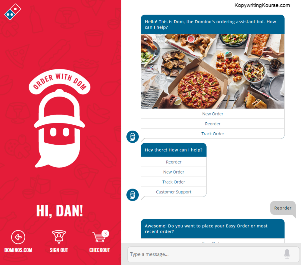 copy examples chatbot dom