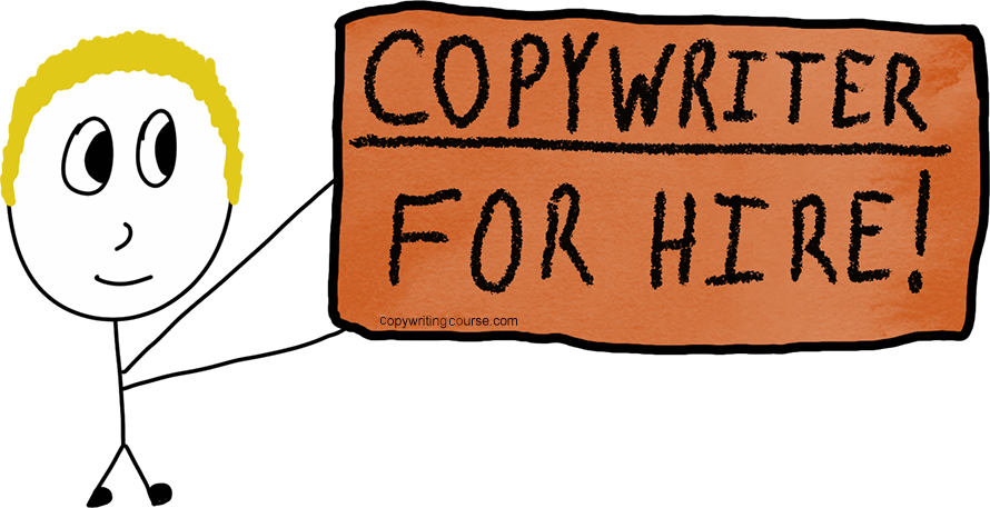 copywriter for hire holding sign