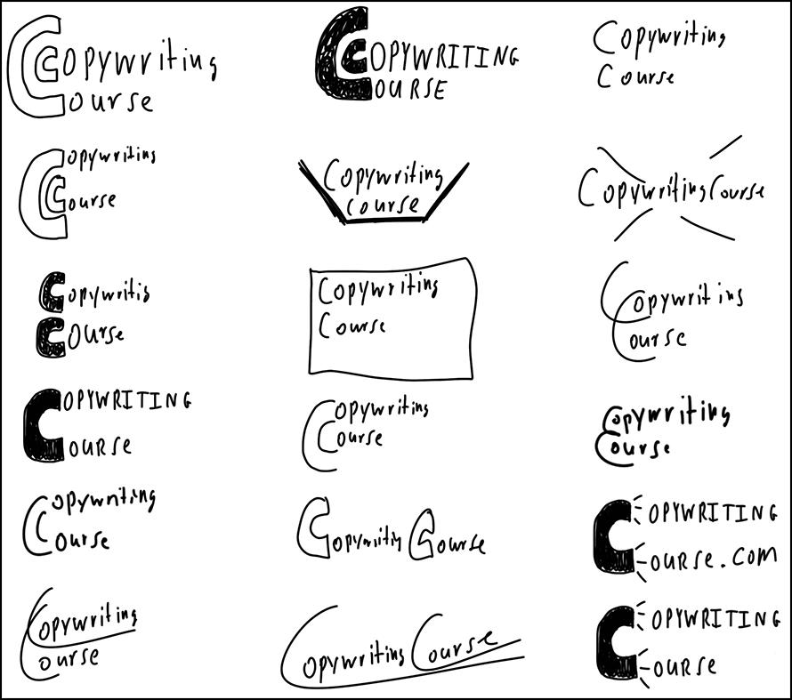 copywriting course logos sample drawings