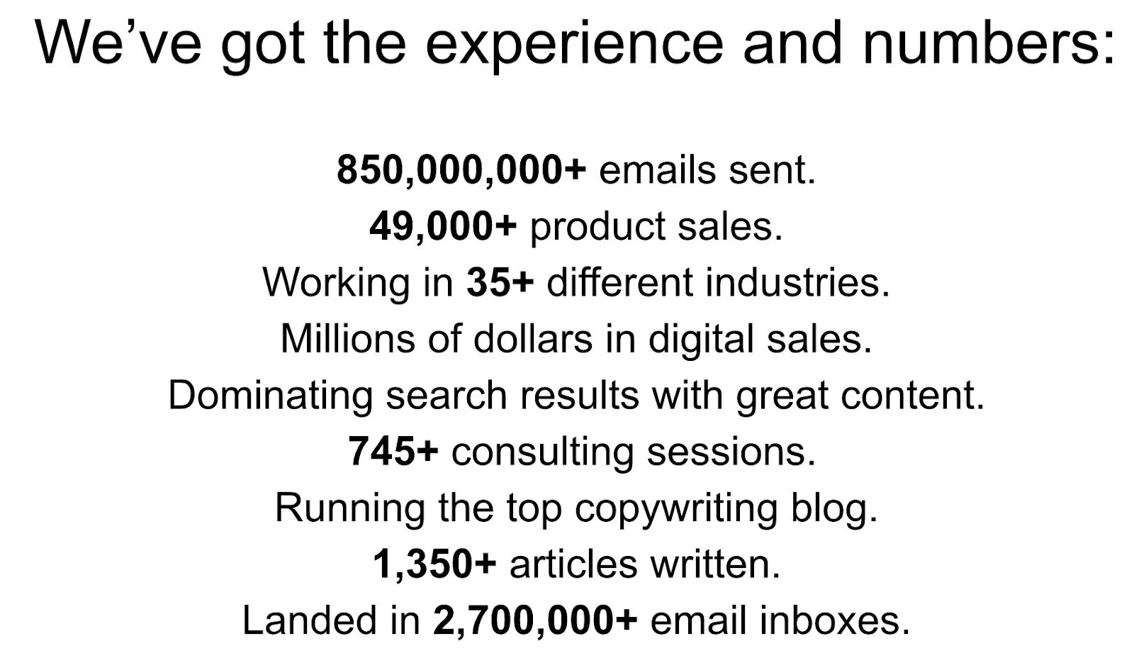 copywriting experience and numbers
