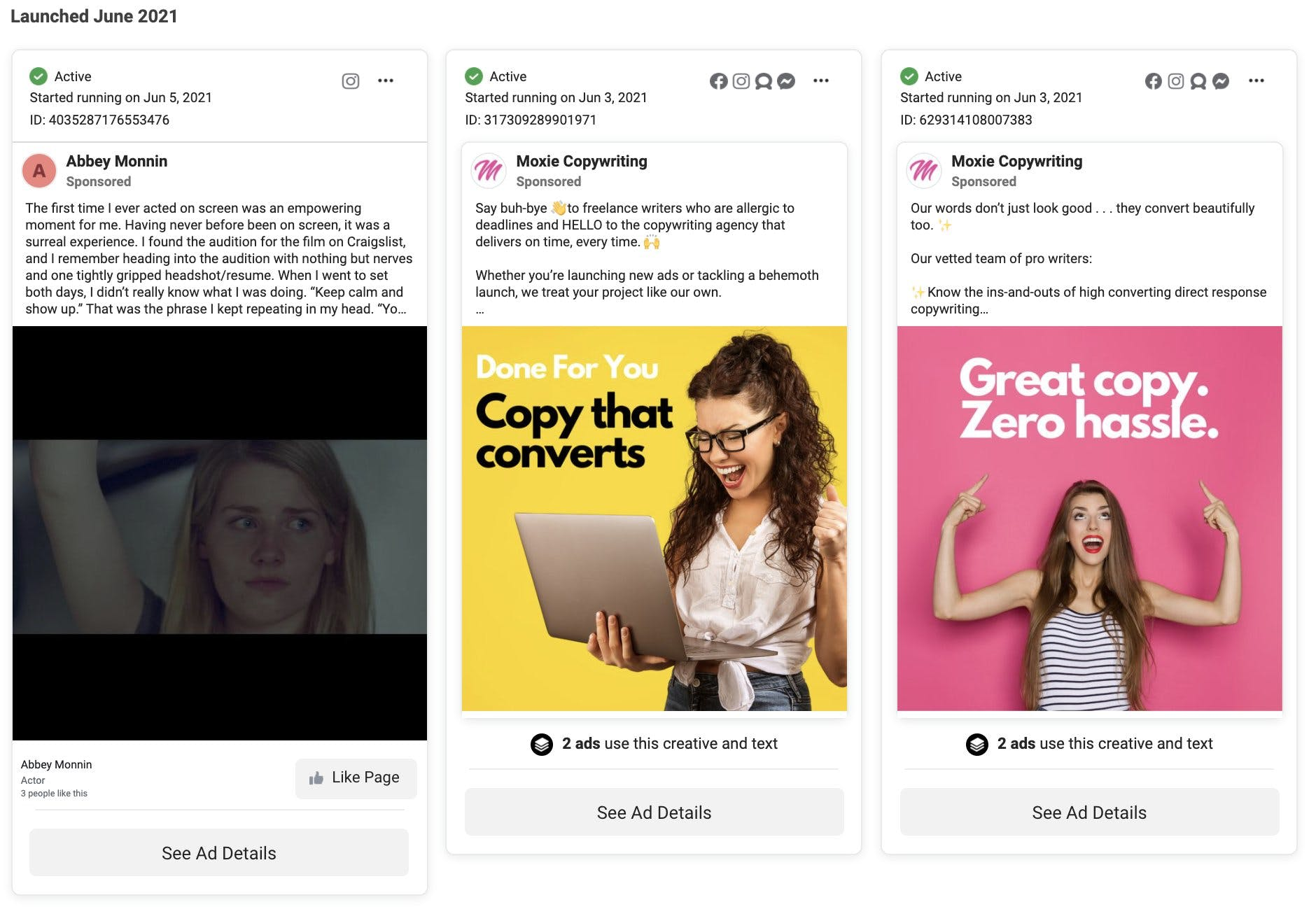 copywriting facebook ads