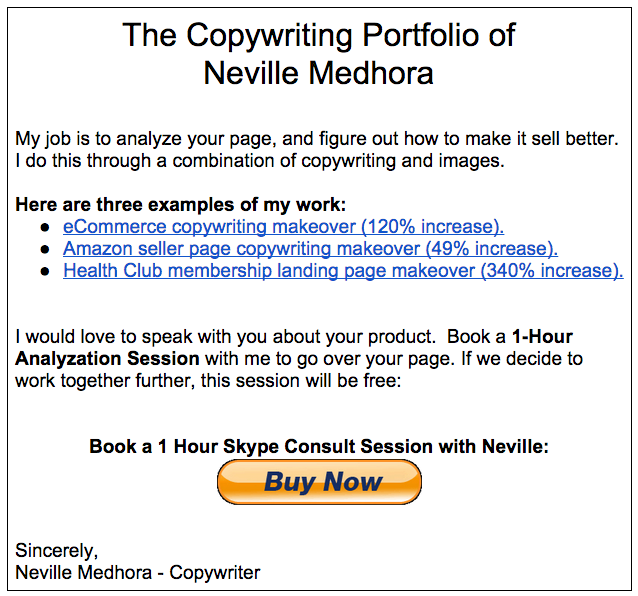 Copywriting Portfolio Example