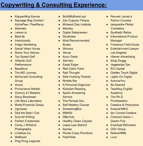 copywriting portfolio mitch