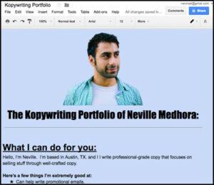 Copywriting Portfolio Screenshot