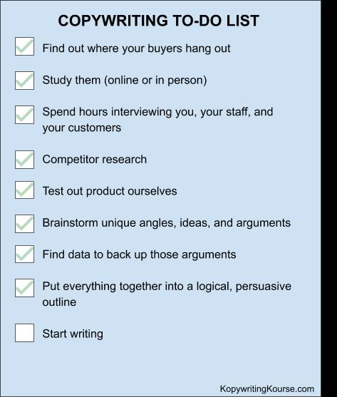 copywriting to-do list