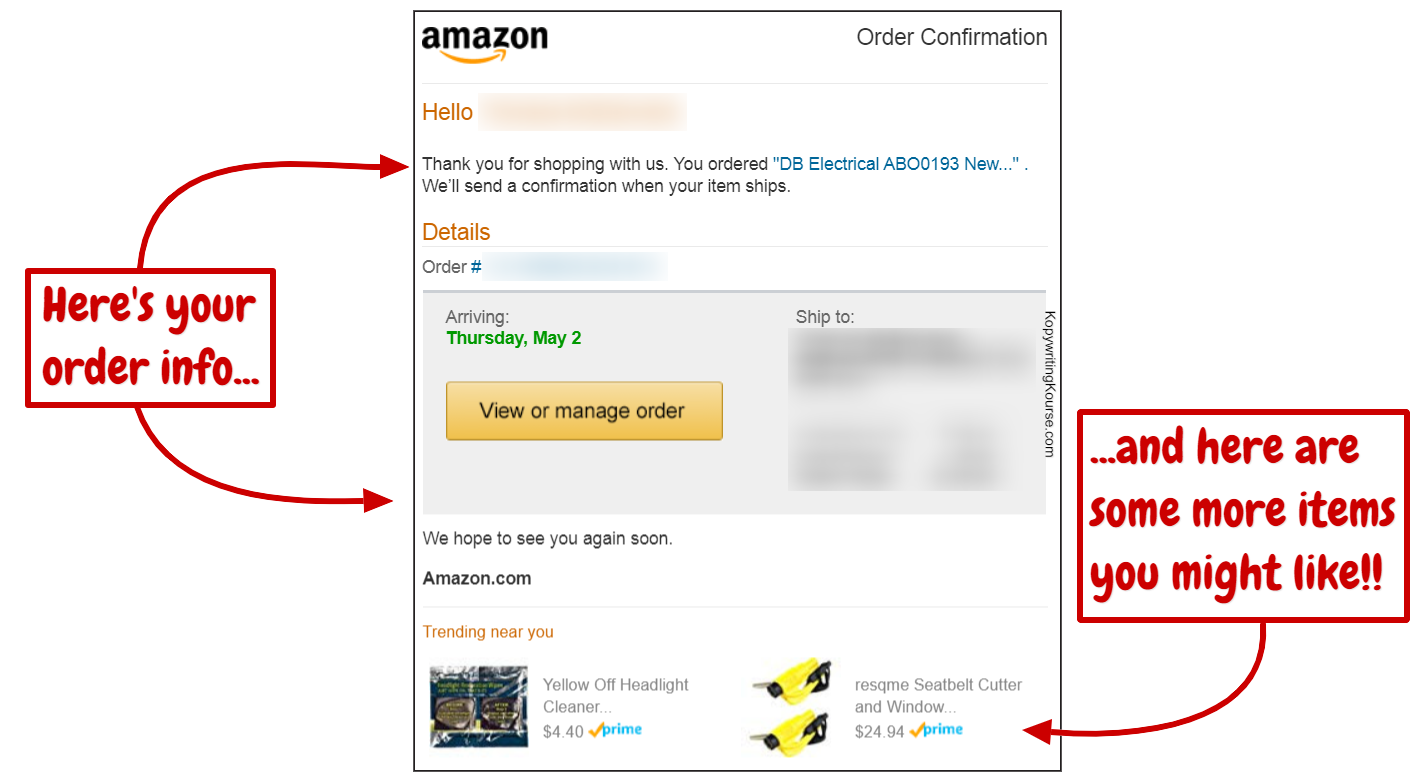 customer retention amazon order confirmation