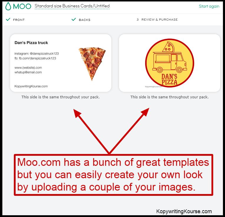 dans pizza business cards