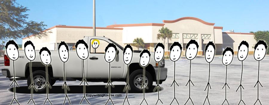 Day Laborers at store around truck