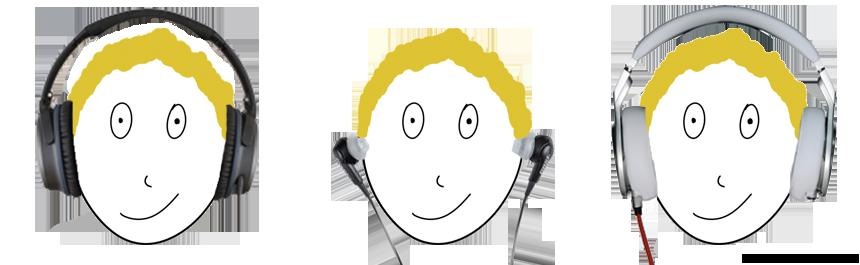Different headphones on head